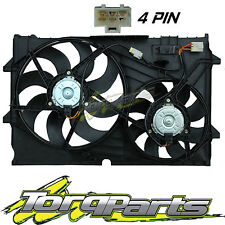 THERMO FANS SUIT VY CREWMAN ADVENTRA HOLDEN V6 4 PIN PLUG TWIN RADIATOR