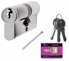 Euro Profile Double Cylinder 70mm 35/35 Lock uPVC Doors SATIN CHROME + 4 Keys