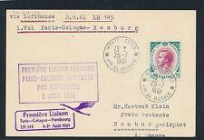 61311) LH FF Paris - Köln - Hamburg 2.8.61, Karte ab Monaco