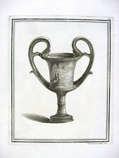 Antique 18th Century French Engraving Ancient Greek Classic Urn w. Hermes # 14