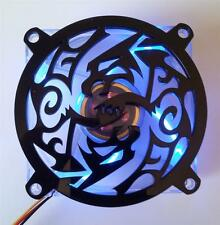 Custom 80mm DOUBLE DRAGON Computer Fan Grill Gloss Black Acrylic Cooling Cover
