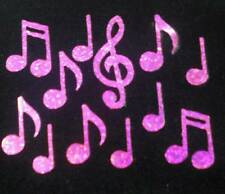 MUSIC NOTES HOT PINK HOLO iron-on transfer applique