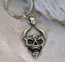 DEMON SKULL INVERTED PENTAGRAM Pewter KEYCHAIN Key Ring