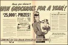 "1947 vintage ad, Post Cereal ""Win Groceries for a Year!"" contest -1012612"