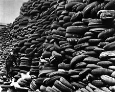 New 8x10 World War II Photo: Used Tires Piled for War Effort in United States