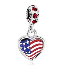USA Flag Heart Dangle Sterling Silver Charm Beads Pandora Bracelet 4th of July