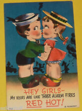 Little Kids 1940s My Kisses Are Like 3 Alarm Fires Colored Humor Postcard See!