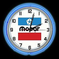 """19"""" MOPAR 1972 Logo Sign Double Neon Clock Dodge Plymouth Ram Chrysler"""
