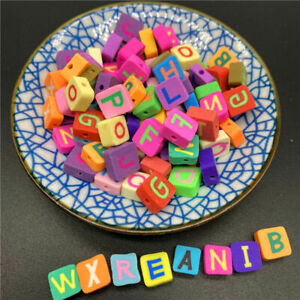 New 30 pcs 10mm Clay Colorful Square Letters Loose Beads For DIY Jewelry Making