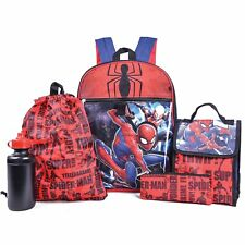 Marvel Spiderman Avengers Boys School Backpack Bookbag Lunch Box 5 Piece SET Kid