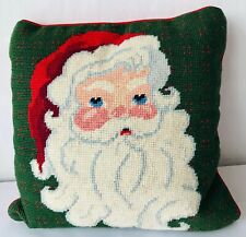 Finished Santa Claus Needlepoint Pillow Red Velveteen Backing Christmas Decor