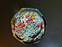 Vintage Murano Art Glass Close Packed Millefiori Faceted Paperweight Aventurine