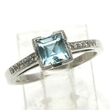Vintage 14k Blue Topaz Diamond Ring 1 carat solitaire with accents white gold