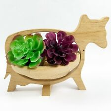 Collapsible Wooden Bowl Basket Cow Shaped Planter Egg Herb Veggie Collector