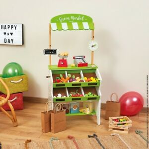 Janod Wooden Green Market Grocery Stall - Children's Play Toy Shop