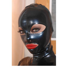 Sexy Full Face Natural Latex Hood Open Eye Mouth for Women Handmade