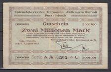 Porz-Urbach  -  Spiegelglaswerke Germania - 2 Millionen Mark  - Serie A    (640)