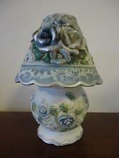 Porcelain Floral Tealight Lamp Blue/Silver/White/Green Heart/Round Cut-outs