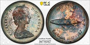 Toned Silver 1967 Canada 10 Cents | PCGS PR64