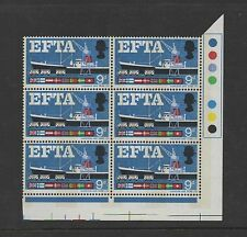 1967 EFTA (phos). Traffic light block x 6 with brown omitted error. MNH. Scarce!