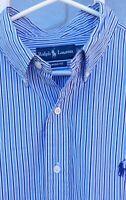 Men's Ralph Lauren L/S Button-Down Shirt Blue/White Striped Classic Fit Size XL