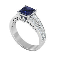 1.16 Ct Princess Diamond Blue Sapphire genuine Ring 14K Solid White Gold Size M