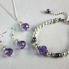 Mauve lilac white crystal pearl necklace bracelet earring wedding bridesmaid set