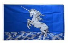 Fahne Einhorn blau Flagge Fantasy Hissflagge 90x150cm
