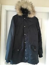 Topman Navy Blue Parka Coat Small