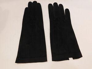 *DESIGNER LADIES BLACK SUEDE DRESS GLOVES UNLINED SIZE 6