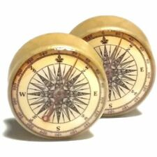 Pair of Wood Handmade Ear Plugs - Organic Gauges Flesh Tunnels - Antique Compass