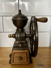 More details for antique jmf single wheel cast iron coffee mill grinder