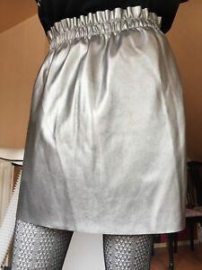 Minirock Lederimitat Kunstleder Only Größe 36  silver faux leather miniskirt