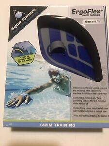 Aqua Sphere ErgoFlex Hand Paddles Small Fit Swim Training Blue Gray