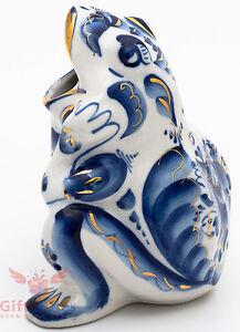 Porcelain Gzhel Frog Figurine napkin holder Souvenir handmade feng shui