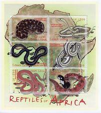 Sierra Leone 2001 MNH Reptiles of Africa 6v M/S Snakes Viper Cobra Skaapsteker