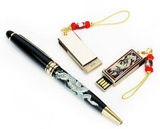 SET DUO NACRE Cle USB 8GB +Stylo Noir Ink Ball Point DRAGON