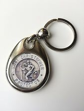 ST CHRISTOPHER PATRON SAINT TRAVEL SILVER PLATED ROUND KEYRING GIFT PRESENT