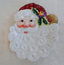 Fitz and Floyd Essentials Santa Claus Face Canape or Wall Hanging Plate Retired