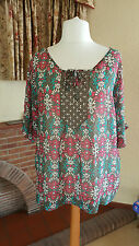 GREEN MULTI SEQUIN SILK KAFTAN TOP BY MONSOON SIZE 18 - SUMMER CRUISE