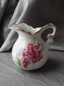 """Vintage Porcelain Gold Trim 3.5"""" Pink Flowers Creamer Pitcher"""