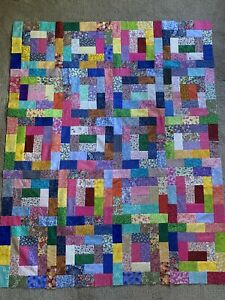 """Colorful Log Cabin Quilt Top 36"""" X 45"""""""