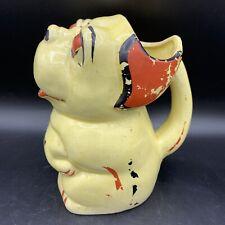 Vintage Ceramic Bonzo Dog Figural Pitcher Red Black Japan