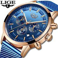 LIGE New Mens Watches Fashion Top Brand Luxury Stainless Steel Blue Quartz Watch