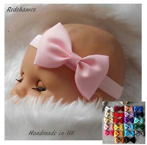 Baby Headband Bow Newborn - 2yr soft elastic Christening Xmas party 7.5cm sb
