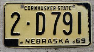 1969 Black on White Nebraska License Plate 2 = Lancaster County