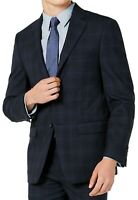 Calvin Klein Mens Suit Jacket Navy Blue Size 42 R Plaid Slim Fit Blazer $450 205