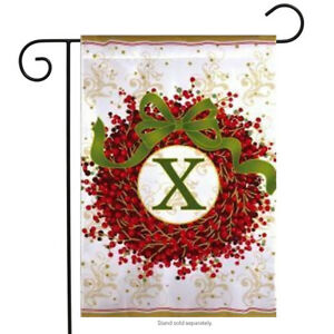 """Holiday Monogram Wreath X Garden Flag Christmas Berries Embroidered 12.5"""" x 18"""""""