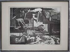 Fine Vintage Etching of Animals Artist Proof Signed Shee Goldman, Great Print!