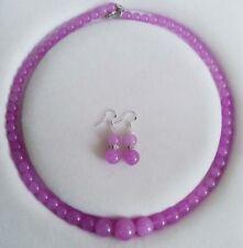 "Fashion 6-14mm Genuine Kunzite Gemstones Round Necklace Earrings Set 18"""